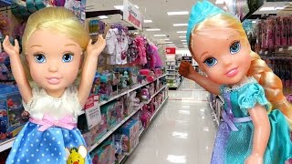 TOY HUNT with ELSA & CINDERELLA toddlers ! Lots of toys and dolls ! Hunting and Playing