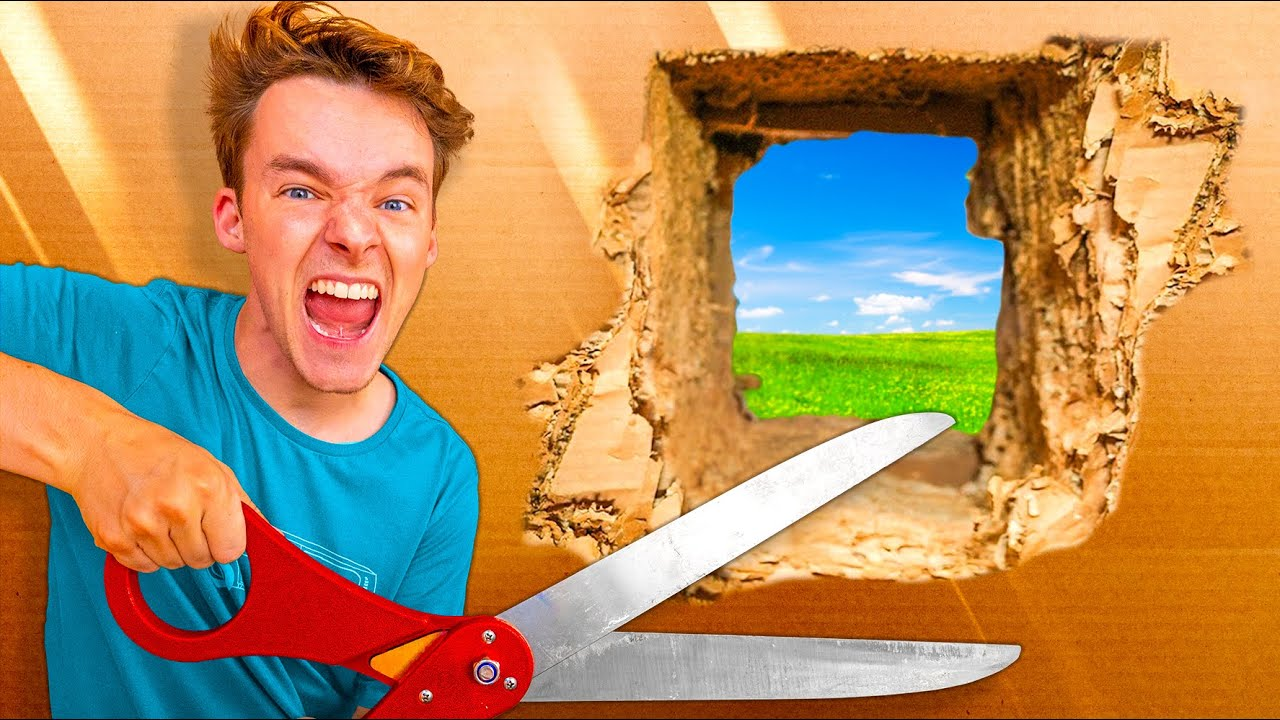 ESCAPING 100 LAYERS OF CARDBOARD!! *Gone Wrong*