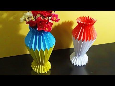DIY Flower Vase | How To Make A Flower Vase With Color Paper |
