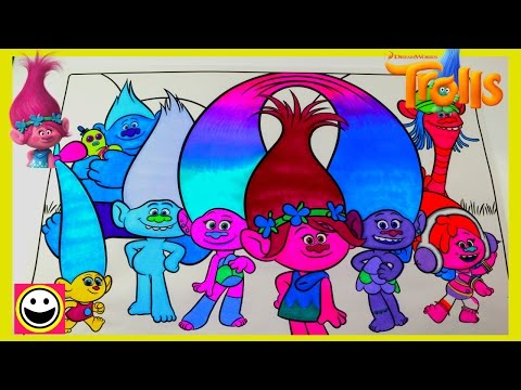 TROLLS Movie | Full Cast of Trolls Characters | Color With Me | CutiePieToySurprise
