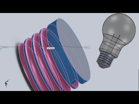 SolidWorks Tutorial #27: Light Bulb E27 modelling (+assembly), part1/2