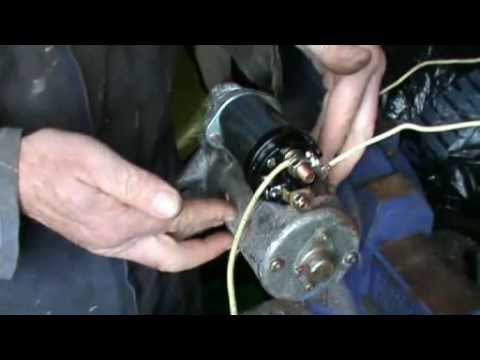 Testing and replacing a pre-engaged starter motor solenoid.