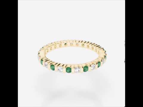 Yellow Gold Emerald Diamond Eternity Ring   YGold Emerald Eternity Ring 1092