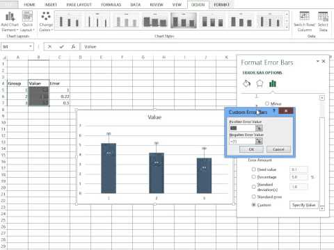 Simple Custom Error Bars Excel 2013