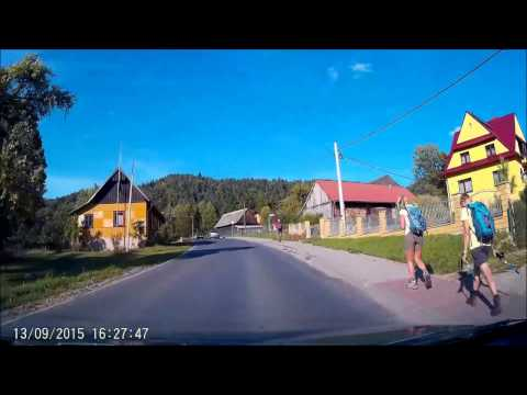 Driving on Polish village in the mountains rural Poland
