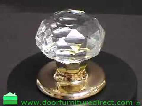 Clear Glass Faceted Mortice Door Knobs PB Rose