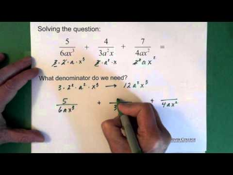 9. Algebraic Fractions: Addition & Subtraction: Finding LCD