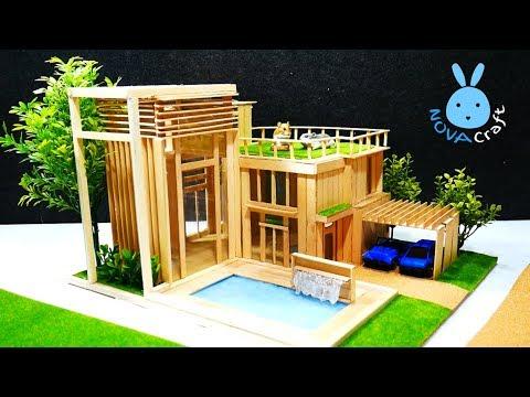 How to make Popsicle Sticks House Dreamhouse Architecture | สอนทำบ้านไม้ไอติมแบบสวยๆ