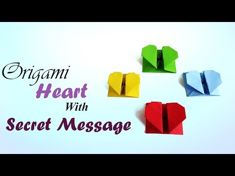 Origami Heart Box & Envelope with Secret Message -💕 Pop Up Heart . DIY valentine's day gift. Craft