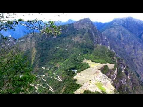 Detailed view of Machu Picchu from the top of Waynu Picchu Mountain