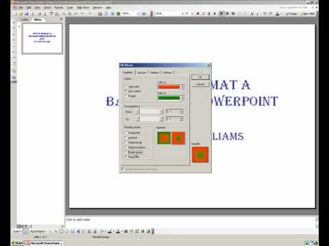 How to edit a background in PowerPoint 2003