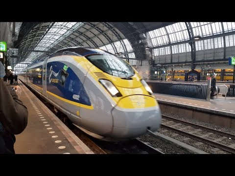 Test passenger on Eurostar high speed train between Amsterdam and Brussels to London