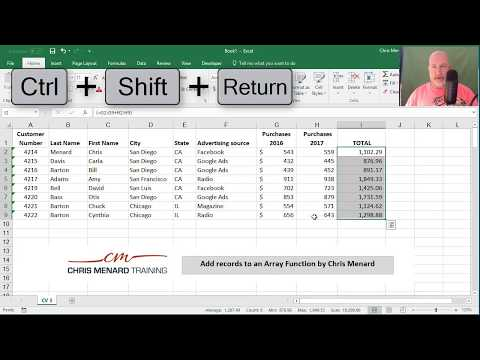 Add records to an Array Function in Excel by Chris Menard