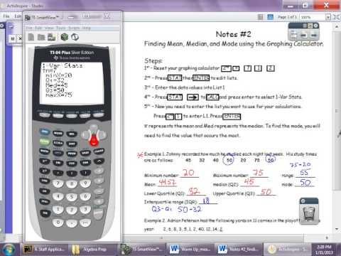Finding mean median mode using graphing calculator.avi