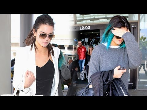 Kylie Jenner Shows Off Her Edgy Blue Hair Do With Sister Kendall At LAX [2014]