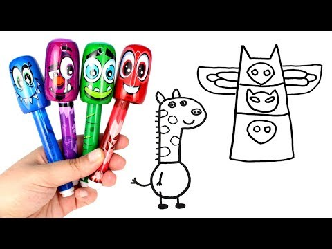 Drawing & Coloring with Scentos Bobblehead Markers PJ Masks Peppa Pig Gerald Giraffe Pocoyo Doraemon