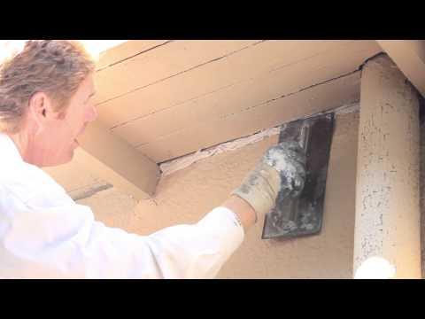 Caulking a crack or use a stucco product