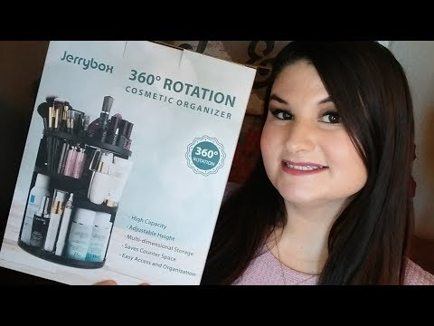 Jerrybox 360 Degree Rotation Adjustable Multi-Function Cosmetic Storage Box, Large (White)