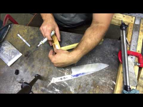 Knife Making Part 3 - chef knife handle material cutout