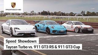 Porsche Taycan Turbo vs Porsche 911 GT3 RS vs Porsche 911 GT3 Cup