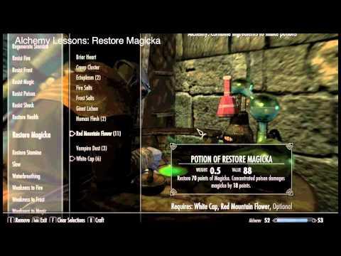 Skyrim Part 25 Compendium: Restore Health, Magicka & Stamina Potions