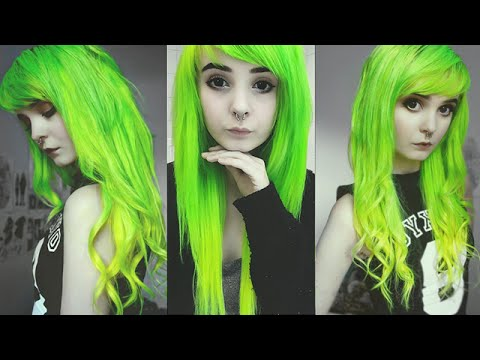 Hair Dye Tutorial for Lime Green & Yellow Ombre --- Kitti Milkgore