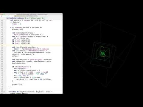 Nested Rotating Cubes with Scala and Processing