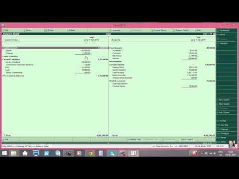 tally profit and loss account and balance sheet
