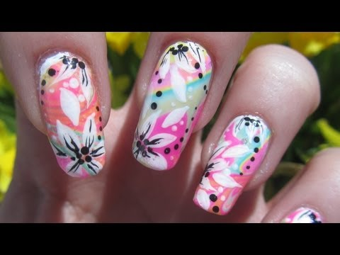 Wild Colorful Water Marble Floral Design Nail Art Tutorial