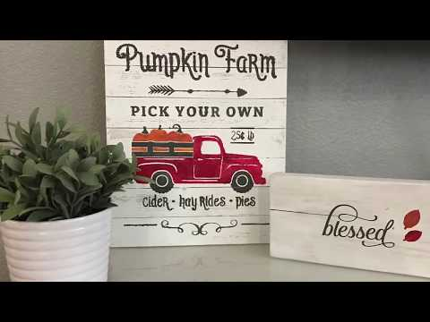 Pumpkin Truck Wood Sign - Silhouette Cameo Sign Tutorial Oramask Stencil Vinyl
