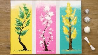 How to Paint 3 Different Trees for Beginners / Easy Acrylic Painting Techniques #477