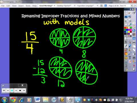 Renaming Improper Fractions and Mixed Numbers using Visual Models