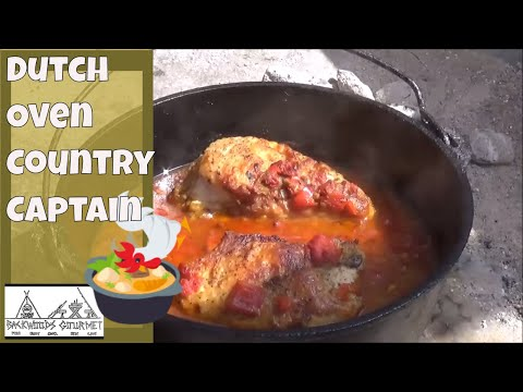 Dutch Oven Country Captain Historic Chicken Dish Cooked in Cast Iron