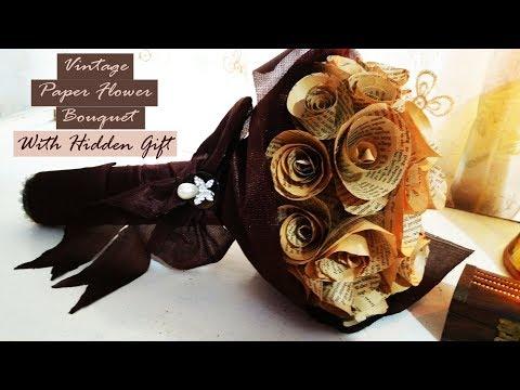 Vintage Paper Flower Bouquet with hidden gift holder idea