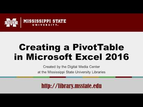 Creating a PivotTable in Microsoft Excel 2016