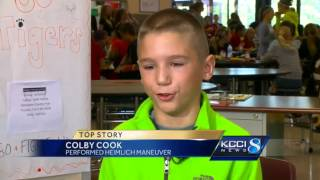 Boy jumps into action to save friend