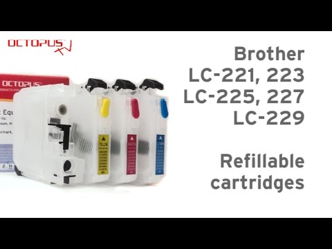 Refillable cartridge for Brother LC-221 LC-223 LC-225 LC-227 LC-229 with reset chip
