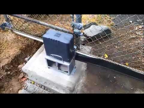 Slide Gate Opener on a Chain Link sliding gate