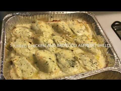 Chicken and broccoli Alfredo stuffed shells with homemade Alfredo sauce