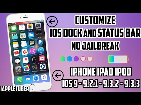 Customize Your iOS Dock and Status Bar For FREE iOS 9 - 9.2.1 - 9.3.3 ( No Jailbreak)