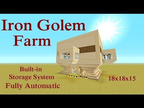 Minecraft Tutorial : Iron Golem Farm Playstation & Xbox, Build-in Storage System