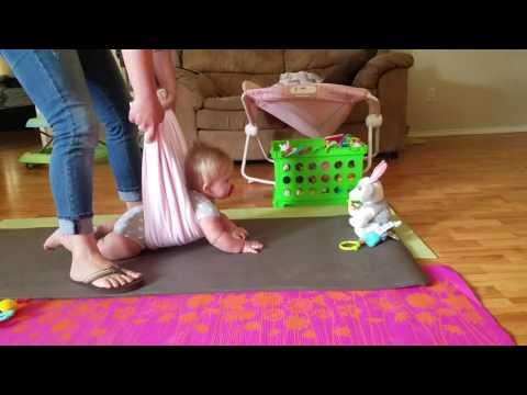 Helping baby crawl