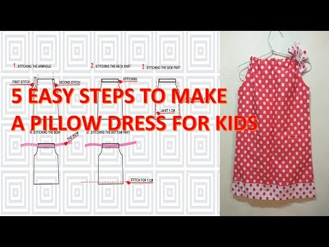 How to make pattern and sew a simple pillowcase dress for little girls using portable mini sewing ma