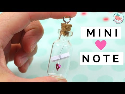 Valentine's Day Crafts - DIY Hearts in Jar & Note in Glass Bottle Vial - Miniature Charm Gift Idea