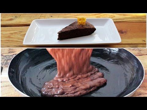 Banana chocolate cake in frying pan