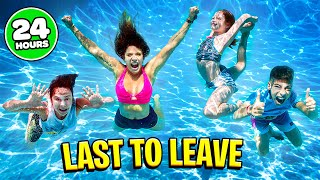 24 Hour LAST TO LEAVE POOL Challenge!!! | The Royalty Family