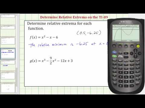 Determine the Relative (Local) Extrema of a Function on the TI-89