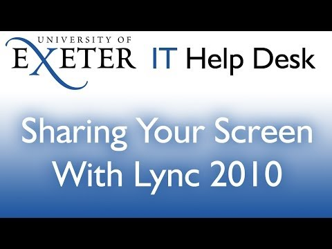 Sharing your screen and applications via Lync