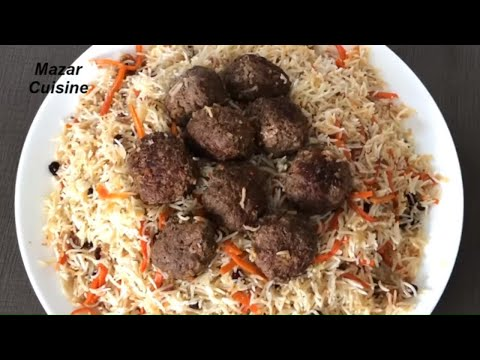 Kofta Palaw کوفته قابلی Kofta Pulao Recipe ,Afghani Kabuli Pulao With Kofta