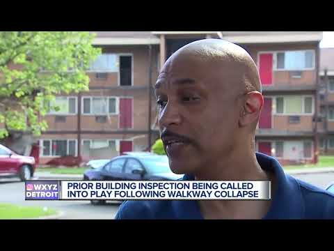 Building Inspections questioned after walkway collapse at Detroit apartment